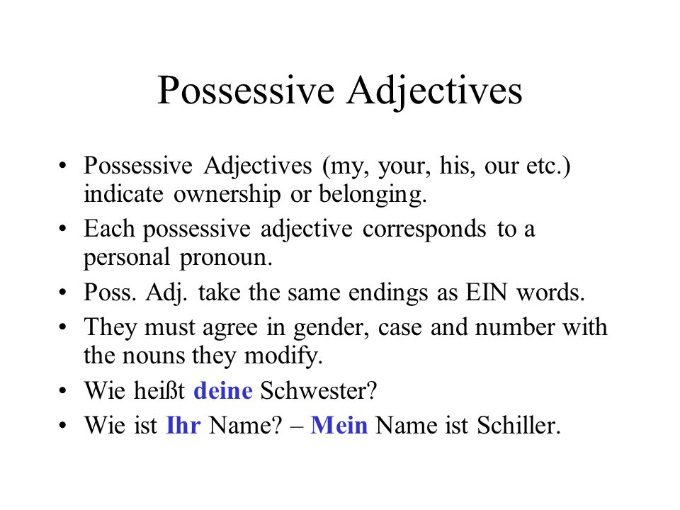 Possessive Adjectives Possessive Adjectives (my, your, his, our etc.) indicate ownership or belonging. Each possessive adjective corresponds to a pers