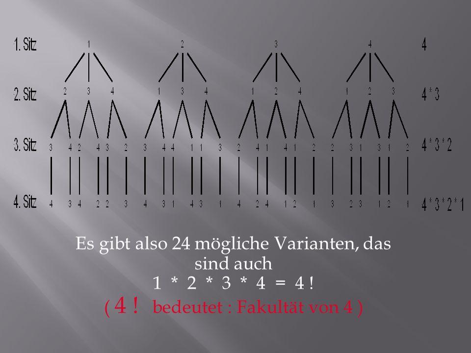 Es gibt also 24 mögliche Varianten, das sind auch 1 * 2 * 3 * 4 = 4 ! ( 4 ! bedeutet : Fakultät von 4 )