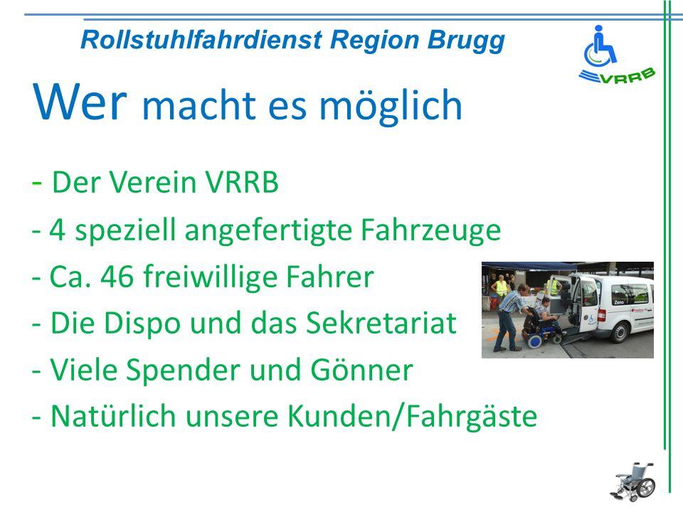 Rollstuhlfahrdienst Region Brugg Wer macht es möglich - Der Verein VRRB - 4 speziell angefertigte Fahrzeuge - Ca. 46 freiwillige Fahrer - Die Dispo un