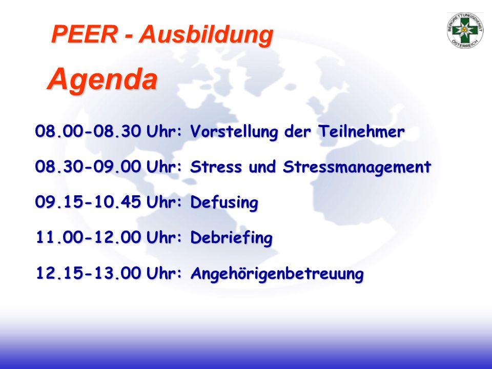 08.00-08.30 Uhr: Vorstellung der Teilnehmer 08.30-09.00 Uhr: Stress und Stressmanagement 09.15-10.45 Uhr: Defusing 11.00-12.00 Uhr: Debriefing 12.15-13.00 Uhr: Angehörigenbetreuung Agenda PEER - Ausbildung