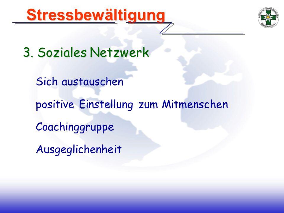 3. Soziales Netzwerk Sich austauschen positive Einstellung zum Mitmenschen Coachinggruppe Ausgeglichenheit Stressbewältigung Stressbewältigung