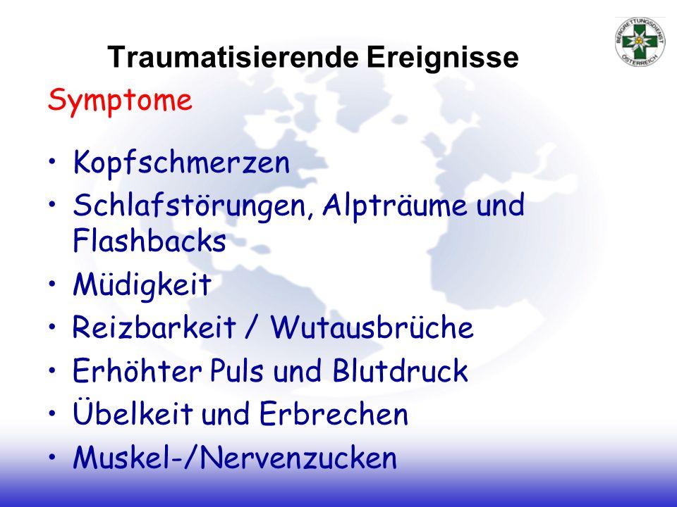 Traumatisierende Ereignisse Symptome Kopfschmerzen Schlafstörungen, Alpträume und Flashbacks Müdigkeit Reizbarkeit / Wutausbrüche Erhöhter Puls und Bl