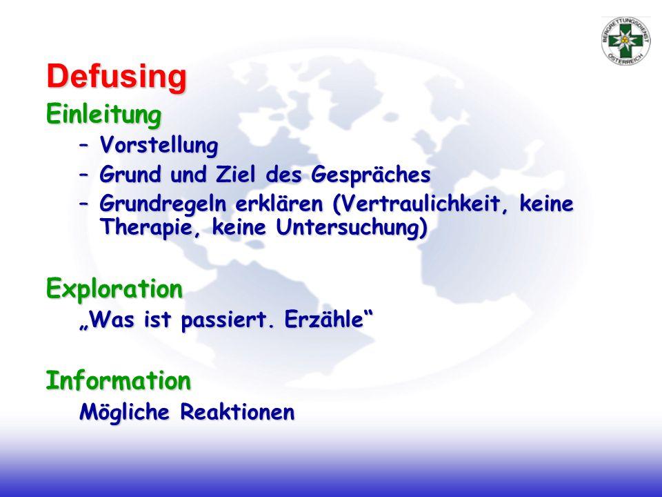 DefusingEinleitung –Vorstellung –Grund und Ziel des Gespräches –Grundregeln erklären (Vertraulichkeit, keine Therapie, keine Untersuchung) Exploration