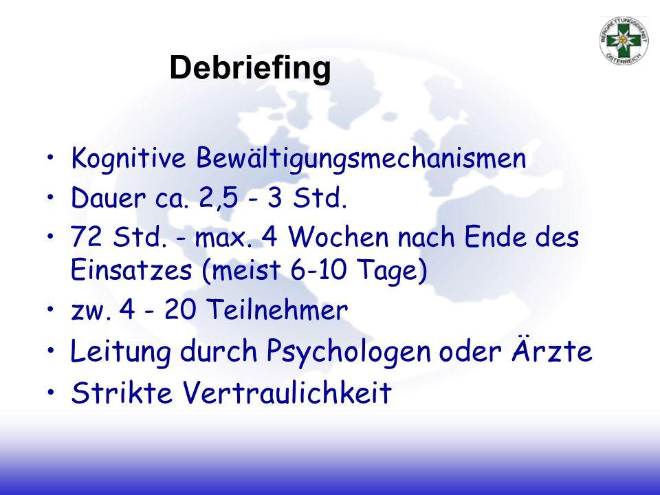 Debriefing Kognitive Bewältigungsmechanismen Dauer ca. 2,5 - 3 Std. 72 Std. - max. 4 Wochen nach Ende des Einsatzes (meist 6-10 Tage) zw. 4 - 20 Teiln
