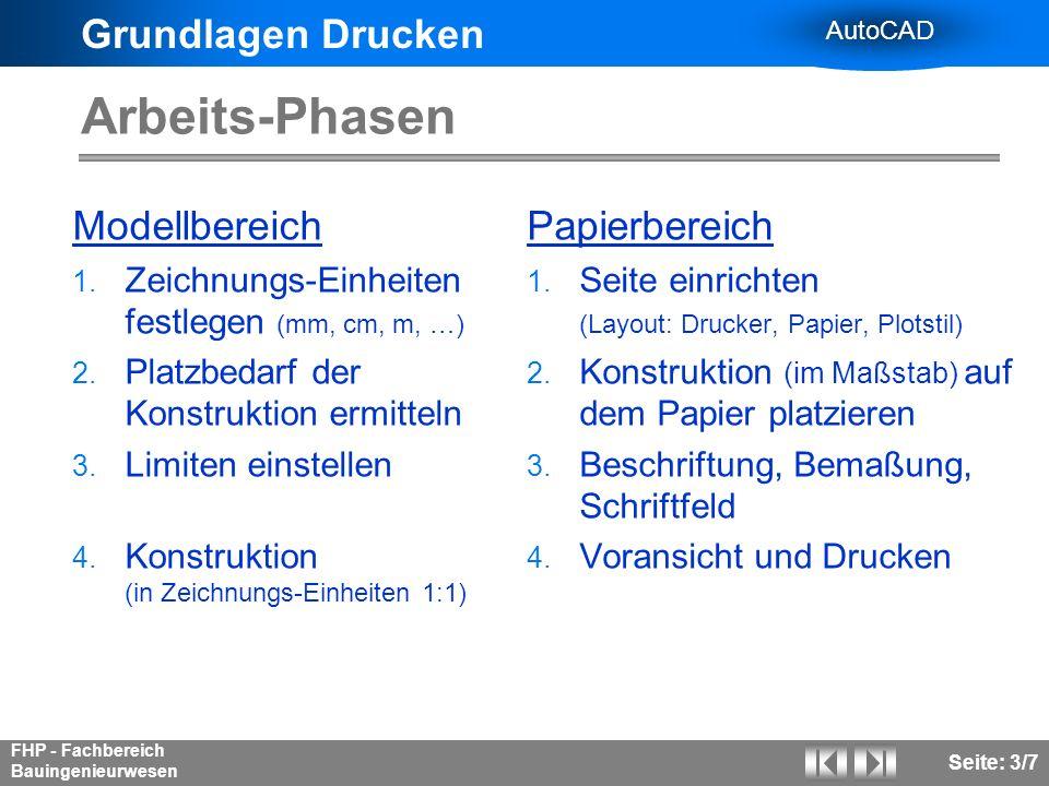 Grundlagen Drucken AutoCAD FHP - Fachbereich Bauingenieurwesen Seite: 4/7 Papierbereich - Layout Seiteneinrichtung: Wer.