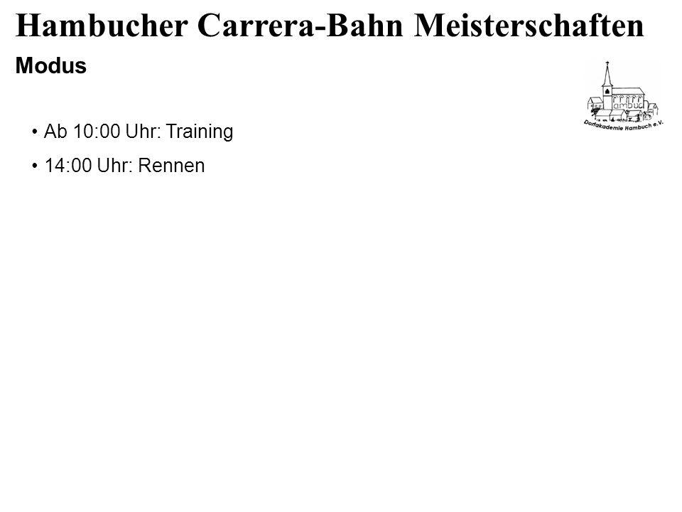 Hambucher Carrera-Bahn Meisterschaften Modus Ab 10:00 Uhr: Training 14:00 Uhr: Rennen