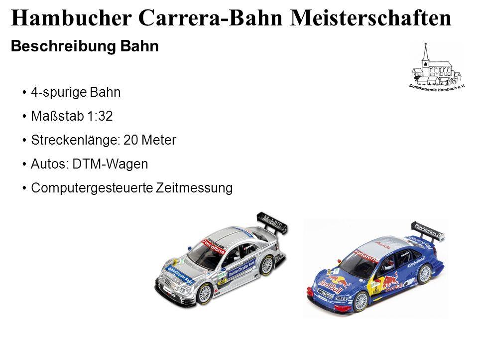 Hambucher Carrera-Bahn Meisterschaften Beschreibung Bahn 4-spurige Bahn Maßstab 1:32 Streckenlänge: 20 Meter Autos: DTM-Wagen Computergesteuerte Zeitmessung
