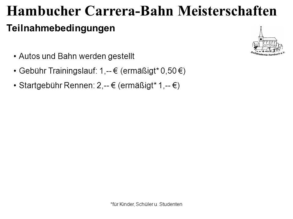 Hambucher Carrera-Bahn Meisterschaften Teilnahmebedingungen Autos und Bahn werden gestellt Gebühr Trainingslauf: 1,-- (ermäßigt* 0,50 ) Startgebühr Rennen: 2,-- (ermäßigt* 1,-- ) *für Kinder, Schüler u.