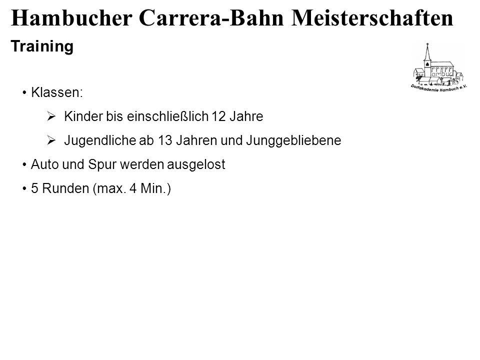 Hambucher Carrera-Bahn Meisterschaften Training Klassen: Kinder bis einschließlich 12 Jahre Jugendliche ab 13 Jahren und Junggebliebene Auto und Spur werden ausgelost 5 Runden (max.
