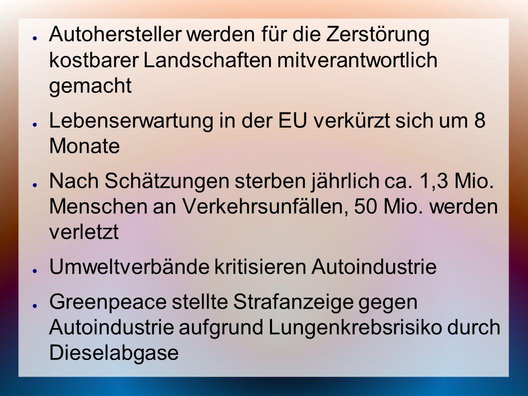 Autohersteller werden für die Zerstörung kostbarer Landschaften mitverantwortlich gemacht Lebenserwartung in der EU verkürzt sich um 8 Monate Nach Sch