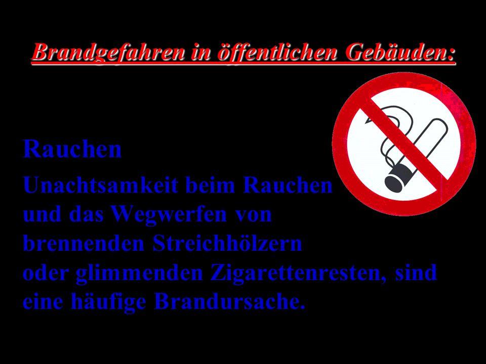 Rauchen Unachtsamkeit beim Rauchen und das Wegwerfen von brennenden Streichhölzern oder glimmenden Zigarettenresten, sind eine häufige Brandursache. B