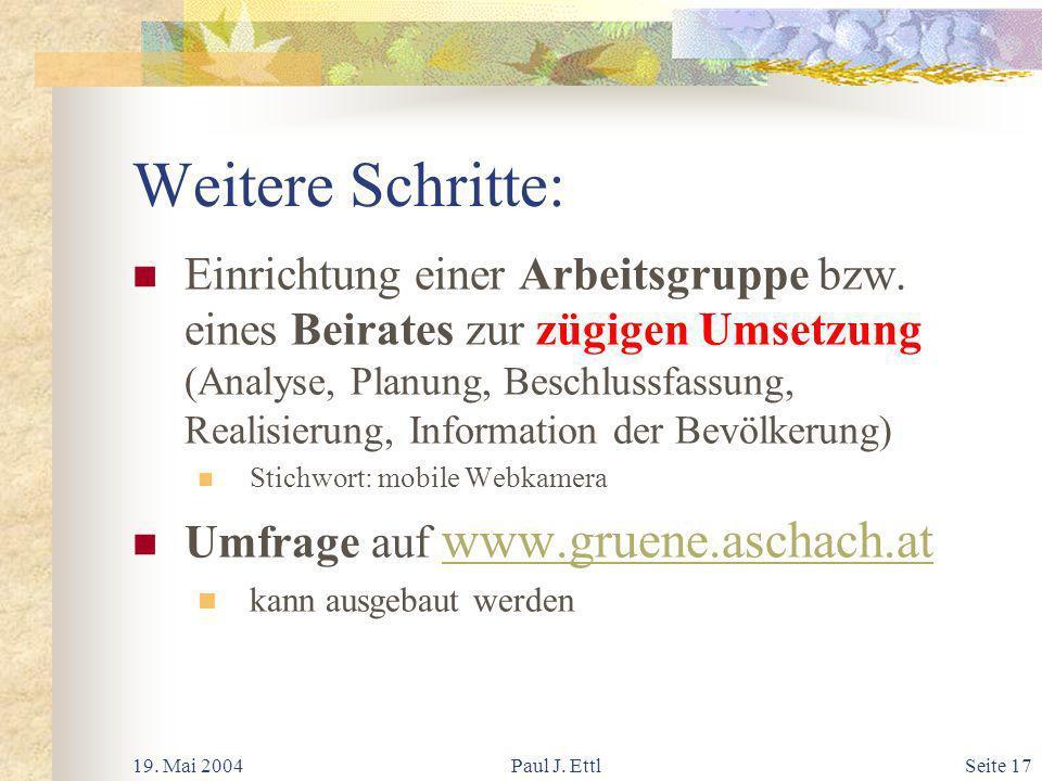 19. Mai 2004Paul J. EttlSeite 17 Weitere Schritte: Einrichtung einer Arbeitsgruppe bzw.