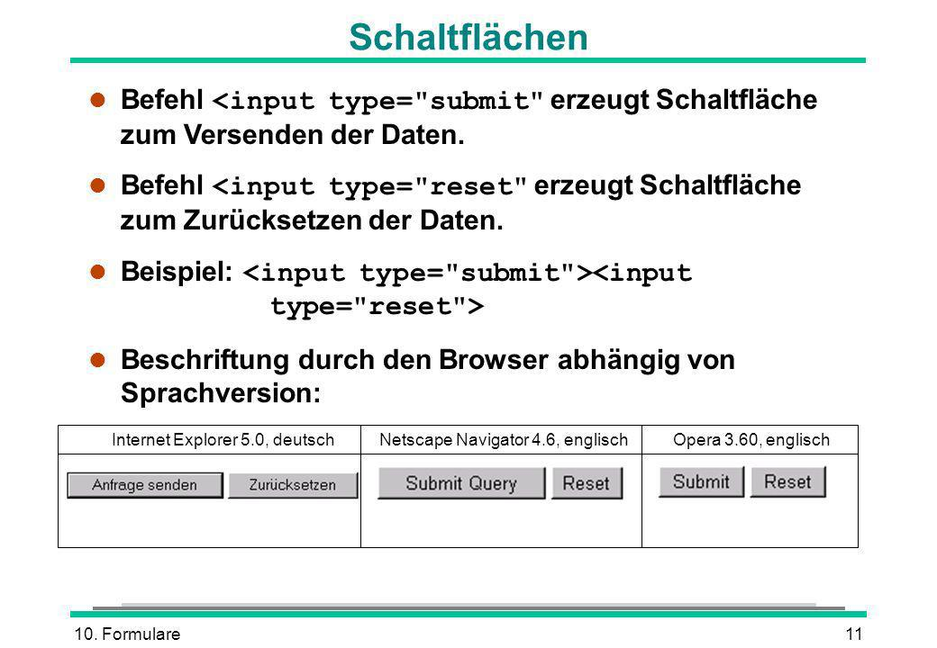 10. Formulare11 Schaltflächen Befehl <input type=