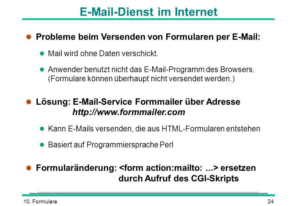 10. Formulare24 E-Mail-Dienst im Internet l Probleme beim Versenden von Formularen per E-Mail: l Mail wird ohne Daten verschickt. l Anwender benutzt n