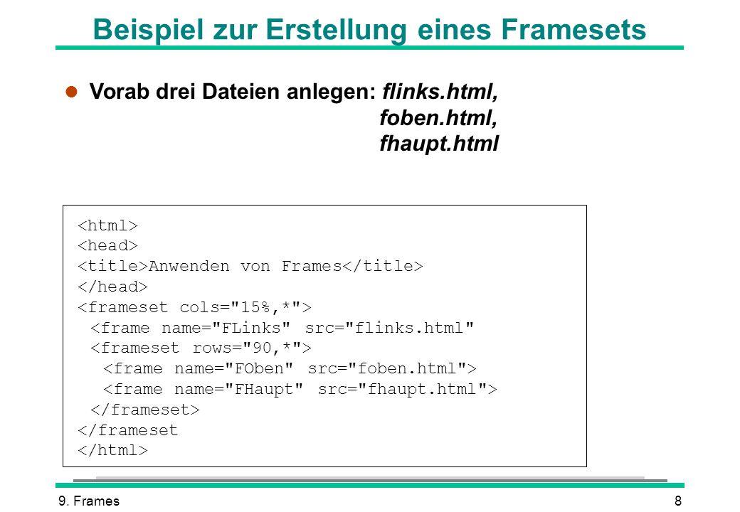 9. Frames9 Fertiges Frameset im Browser