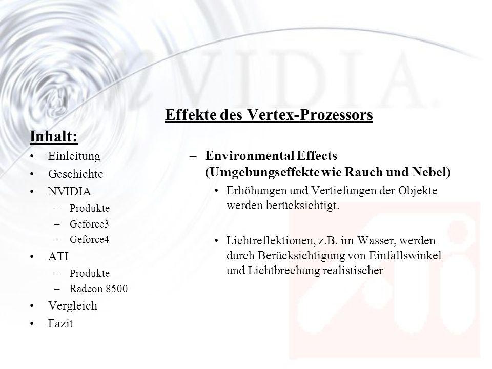Inhalt: Einleitung Geschichte NVIDIA –Produkte –Geforce3 –Geforce4 ATI –Produkte –Radeon 8500 Vergleich Fazit Effekte des Vertex-Prozessors –Environme