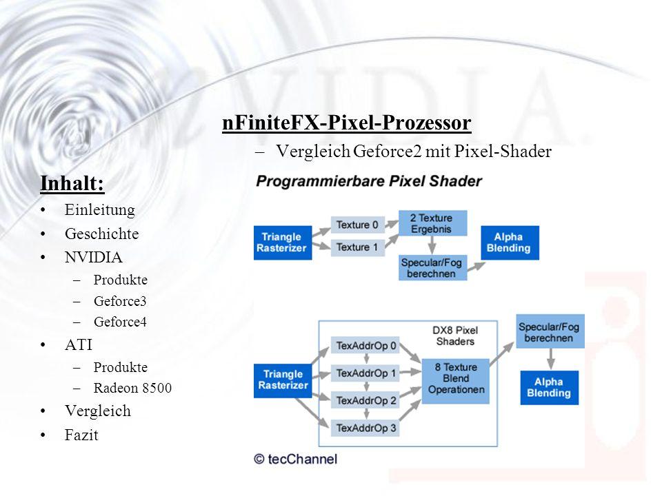 Inhalt: Einleitung Geschichte NVIDIA –Produkte –Geforce3 –Geforce4 ATI –Produkte –Radeon 8500 Vergleich Fazit nFiniteFX-Pixel-Prozessor –Vergleich Gef