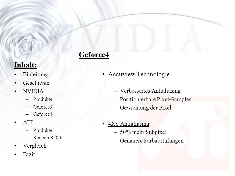 Inhalt: Einleitung Geschichte NVIDIA –Produkte –Geforce3 –Geforce4 ATI –Produkte –Radeon 8500 Vergleich Fazit Geforce4 Accuview Technologie –Verbesser