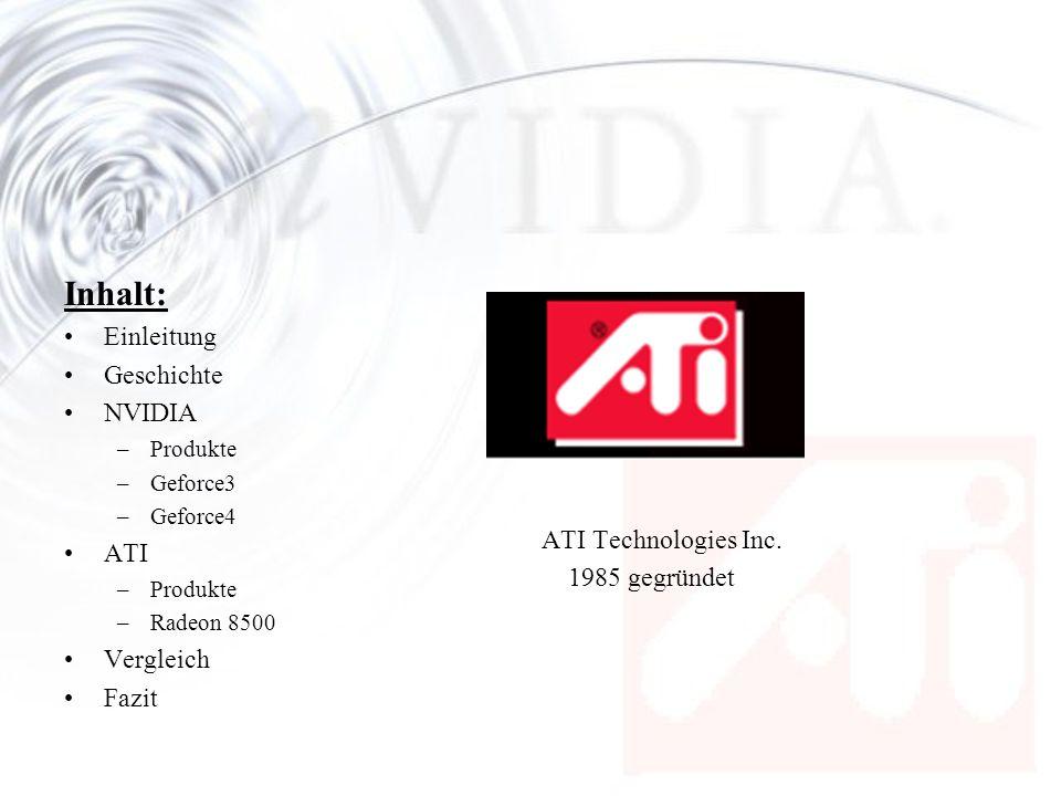 Inhalt: Einleitung Geschichte NVIDIA –Produkte –Geforce3 –Geforce4 ATI –Produkte –Radeon 8500 Vergleich Fazit ATI Technologies Inc. 1985 gegründet
