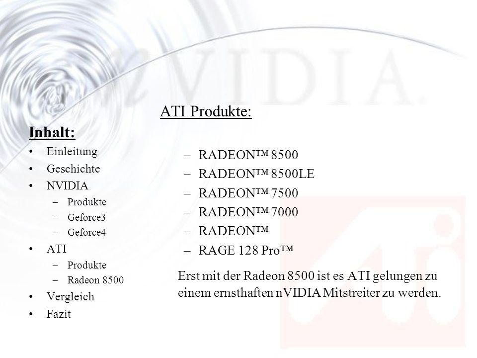 Inhalt: Einleitung Geschichte NVIDIA –Produkte –Geforce3 –Geforce4 ATI –Produkte –Radeon 8500 Vergleich Fazit ATI Produkte: –RADEON 8500 –RADEON 8500L