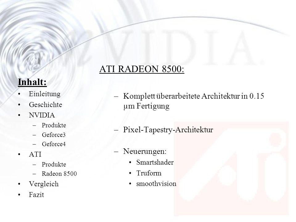 Inhalt: Einleitung Geschichte NVIDIA –Produkte –Geforce3 –Geforce4 ATI –Produkte –Radeon 8500 Vergleich Fazit ATI RADEON 8500: –Komplett überarbeitete