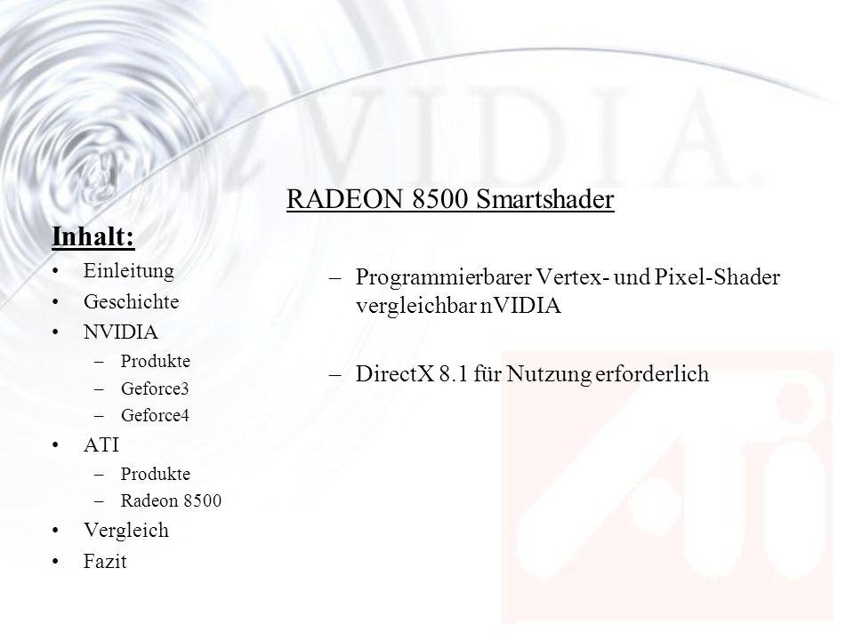 Inhalt: Einleitung Geschichte NVIDIA –Produkte –Geforce3 –Geforce4 ATI –Produkte –Radeon 8500 Vergleich Fazit RADEON 8500 Smartshader –Programmierbare