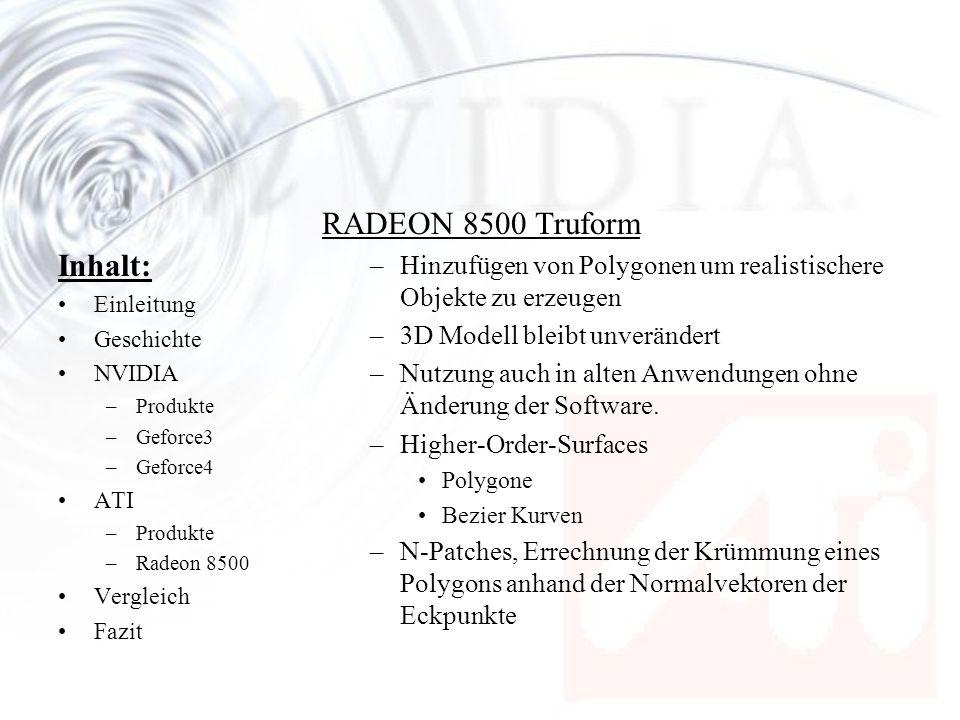 Inhalt: Einleitung Geschichte NVIDIA –Produkte –Geforce3 –Geforce4 ATI –Produkte –Radeon 8500 Vergleich Fazit RADEON 8500 Truform –Hinzufügen von Poly