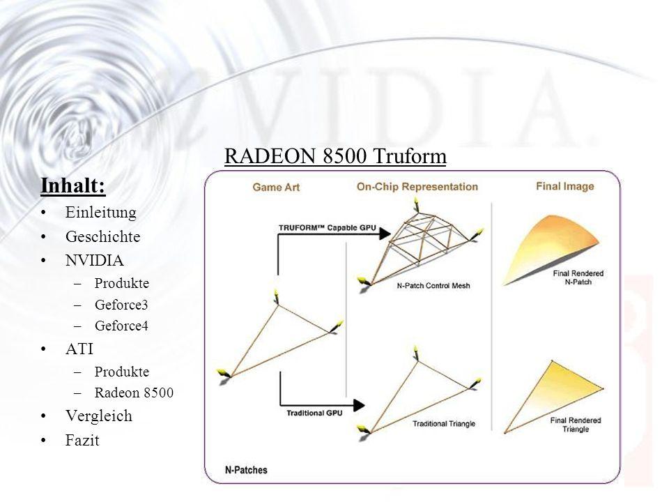 Inhalt: Einleitung Geschichte NVIDIA –Produkte –Geforce3 –Geforce4 ATI –Produkte –Radeon 8500 Vergleich Fazit RADEON 8500 Truform