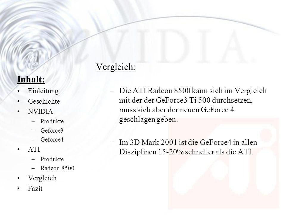 Inhalt: Einleitung Geschichte NVIDIA –Produkte –Geforce3 –Geforce4 ATI –Produkte –Radeon 8500 Vergleich Fazit Vergleich: –Die ATI Radeon 8500 kann sic