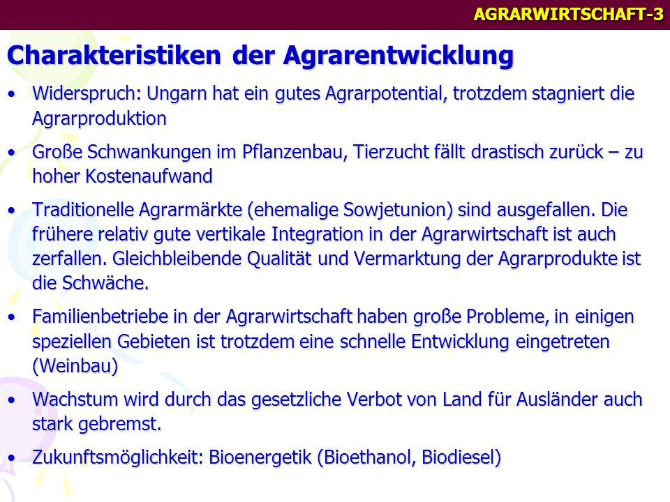 AGRARWIRTSCHAFT-3 Charakteristiken der Agrarentwicklung Widerspruch: Ungarn hat ein gutes Agrarpotential, trotzdem stagniert die AgrarproduktionWiderspruch: Ungarn hat ein gutes Agrarpotential, trotzdem stagniert die Agrarproduktion Große Schwankungen im Pflanzenbau, Tierzucht fällt drastisch zurück – zu hoher KostenaufwandGroße Schwankungen im Pflanzenbau, Tierzucht fällt drastisch zurück – zu hoher Kostenaufwand Traditionelle Agrarmärkte (ehemalige Sowjetunion) sind ausgefallen.