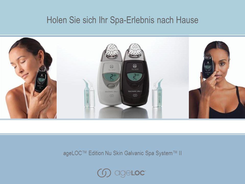 Mit vier auswechselbaren Aufsätzen für Gesicht, Kopfhaut und Körper können Sie sich mit dem ageLOC Edition Nu Skin Galvanic Spa System II verschiedene Vorteile einer Spa-Behandlung nach Hause holen.