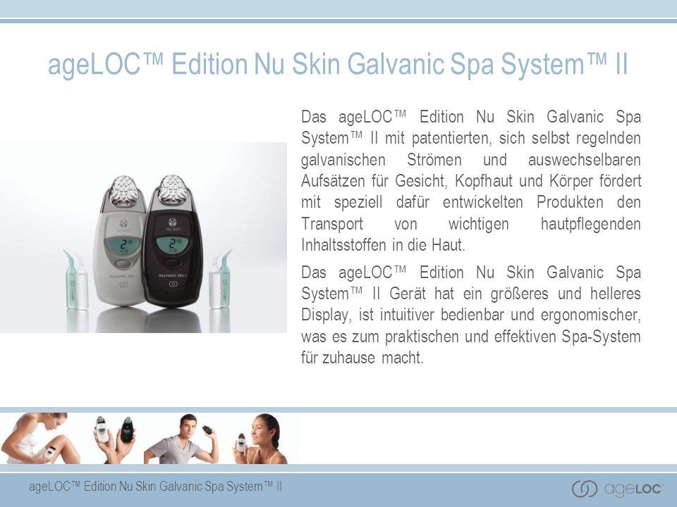 Das ageLOC Edition Nu Skin Galvanic Spa System II mit patentierten, sich selbst regelnden galvanischen Strömen und auswechselbaren Aufsätzen für Gesic