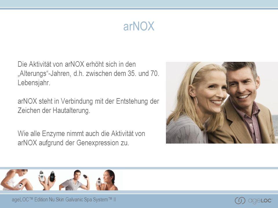 ageLOC Edition Nu Skin Galvanic Spa System II arNOX Die Aktivität von arNOX erhöht sich in den Alterungs-Jahren, d.h. zwischen dem 35. und 70. Lebensj