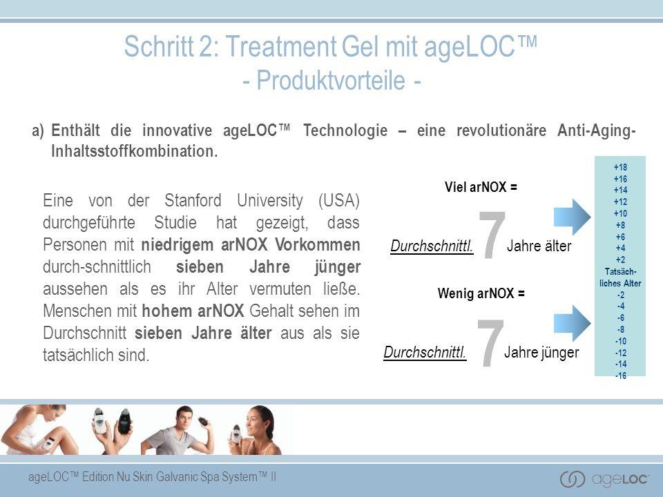 ageLOC Edition Nu Skin Galvanic Spa System II +18 +16 +14 +12 +10 +8 +6 +4 +2 Tatsäch- liches Alter -2 -4 -6 -8 -10 -12 -14 -16 a)Enthält die innovati