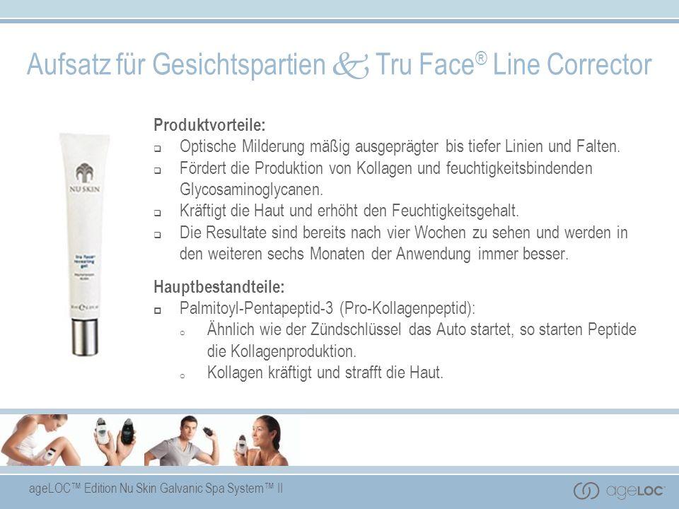 ageLOC Edition Nu Skin Galvanic Spa System II Produktvorteile: Optische Milderung mäßig ausgeprägter bis tiefer Linien und Falten. Fördert die Produkt