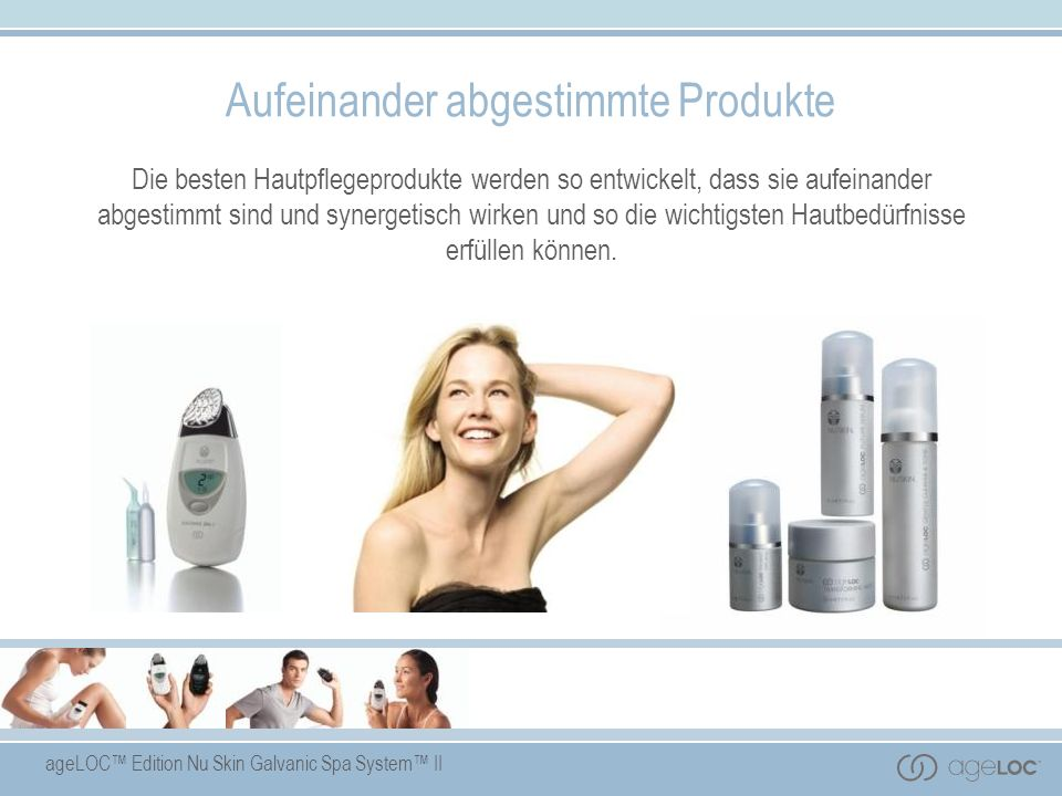 ageLOC Edition Nu Skin Galvanic Spa System II Produkteigenschaften Enthält die innovative ageLOC Technologie - eine zum Patent angemeldete, exklusive Anti-Aging-Inhaltsstoffkombination.