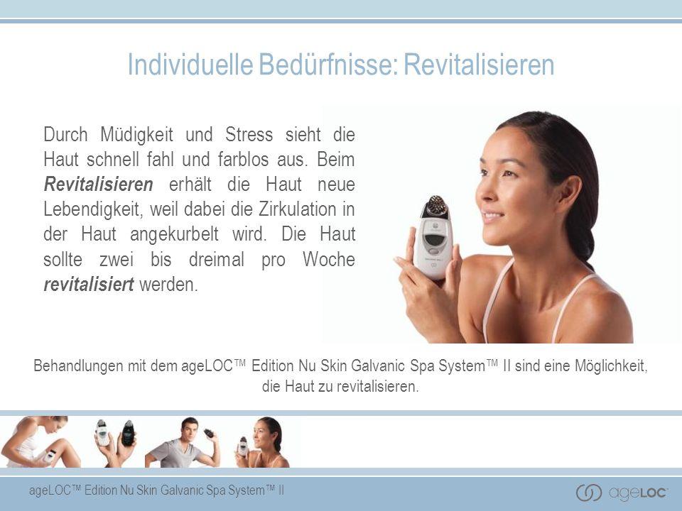 Das ageLOC Edition Nu Skin Galvanic Spa System II mit patentierten, sich selbst regelnden galvanischen Strömen und auswechselbaren Aufsätzen für Gesicht, Kopfhaut und Körper fördert mit speziell dafür entwickelten Produkten den Transport von wichtigen hautpflegenden Inhaltsstoffen in die Haut.