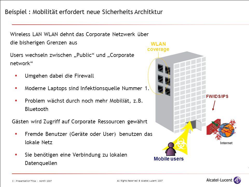 All Rights Reserved © Alcatel-Lucent 2007 3 | Presentation Title | Month 2007 Beispiel : Mobilität erfordert neue Sicherheits Architktur Wireless LAN