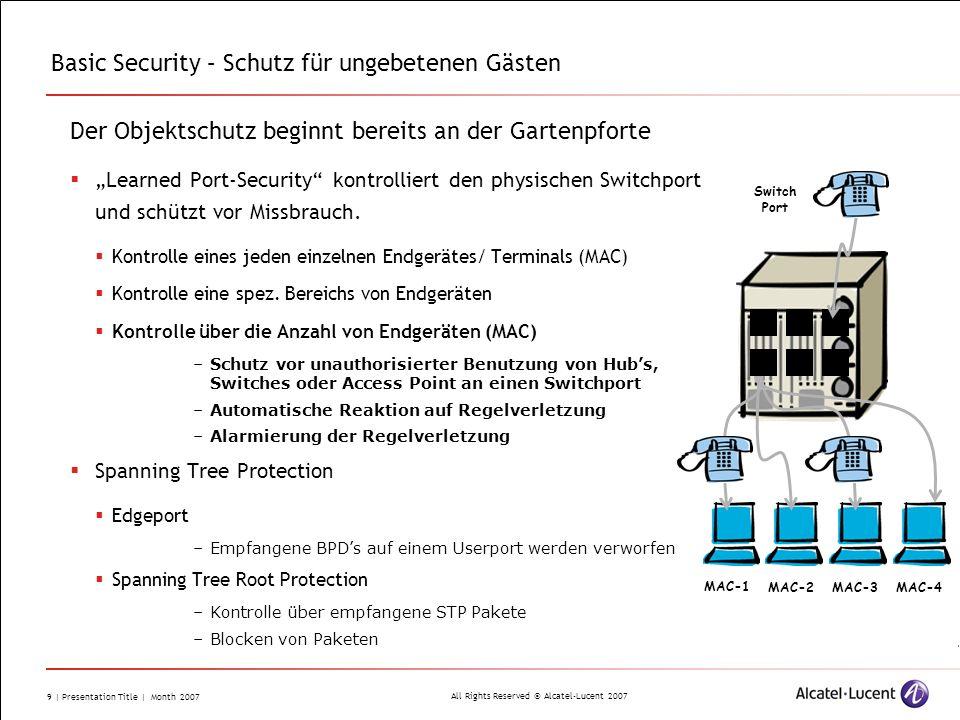 All Rights Reserved © Alcatel-Lucent 2007 9 | Presentation Title | Month 2007 Basic Security – Schutz für ungebetenen Gästen Der Objektschutz beginnt
