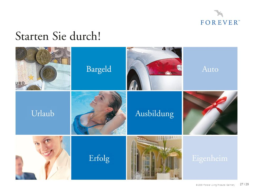 27 / 29 © 2005 Forever Living Products Germany
