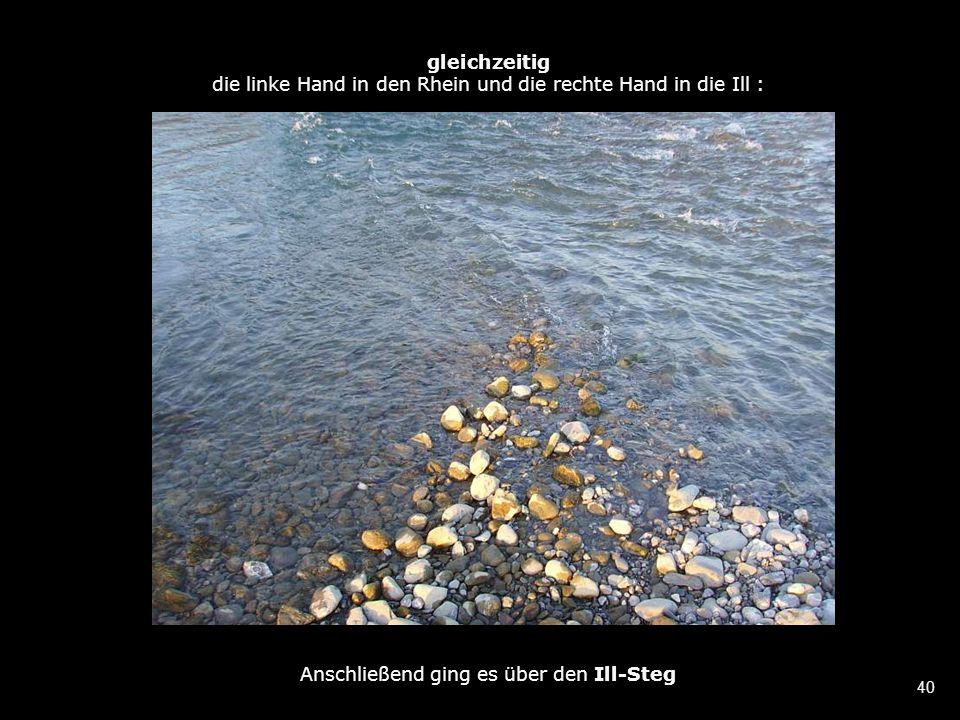 40 gleichzeitig die linke Hand in den Rhein und die rechte Hand in die Ill : Anschließend ging es über den Ill-Steg