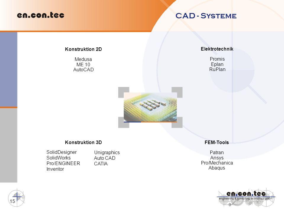 15 CAD - Systeme Konstruktion 2D Medusa ME 10 AutoCAD Elektrotechnik Promis Eplan RuPlan Konstruktion 3D FEM-Tools Patran Ansys Pro/Mechanica Abaqus S