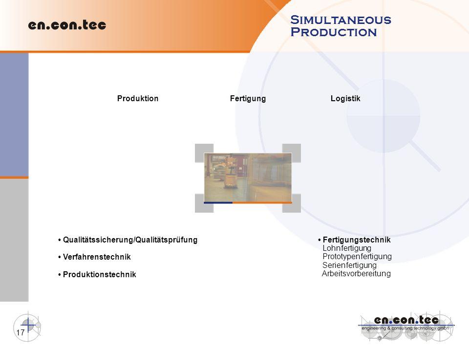 17 ProduktionFertigungLogistik Qualitätssicherung/Qualitätsprüfung Verfahrenstechnik Produktionstechnik Fertigungstechnik Lohnfertigung Prototypenfert