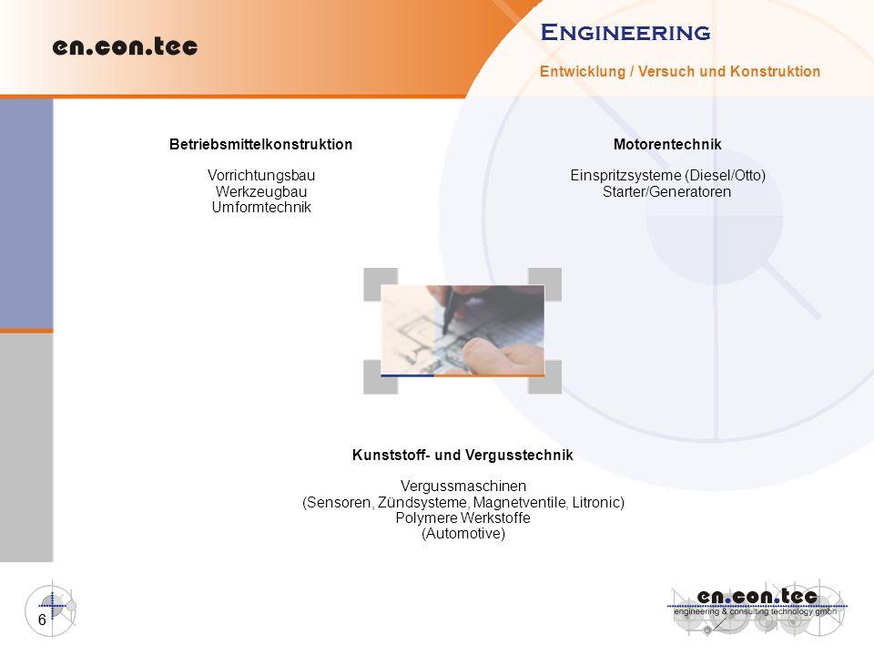 6 Engineering Entwicklung / Versuch und Konstruktion Kunststoff- und Vergusstechnik Vergussmaschinen (Sensoren, Zündsysteme, Magnetventile, Litronic)