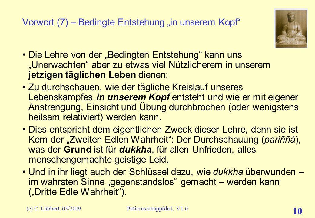 (c) C. Lübbert, 05/2009Paticcasamuppâda I, V1.0 9 Vorwort (6) – Leitmotive zur Einstimmung: Unweise Erwägungen Zu seinen Bhikkhus (Mönchen) aber äußer