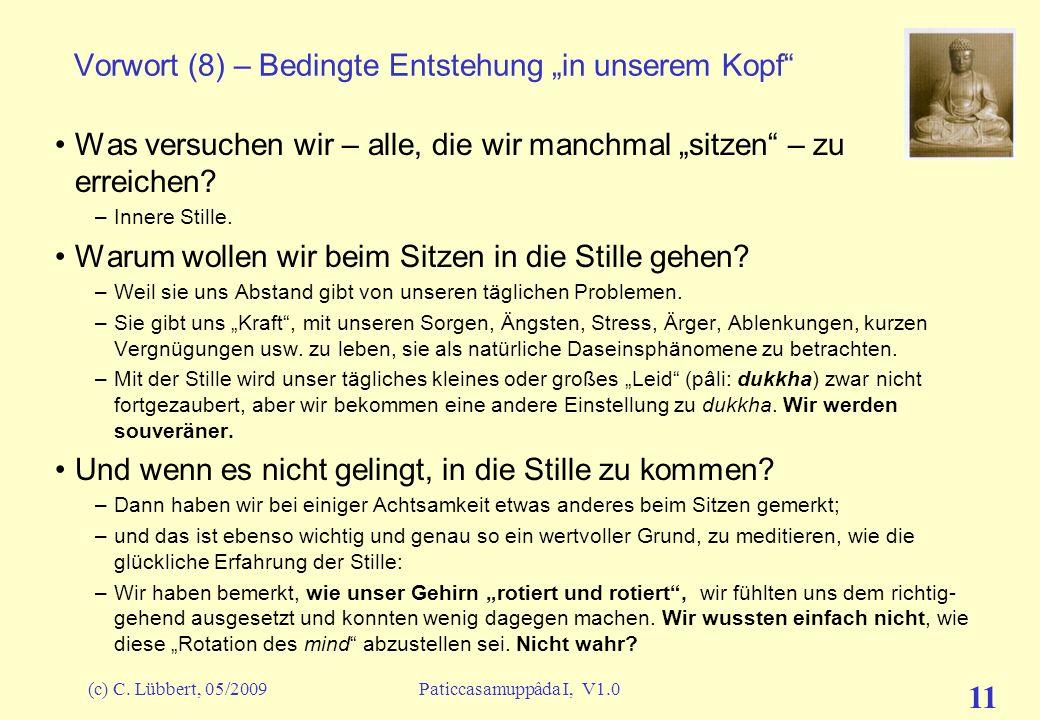 (c) C. Lübbert, 05/2009Paticcasamuppâda I, V1.0 10 Vorwort (7) – Bedingte Entstehung in unserem Kopf Die Lehre von der Bedingten Entstehung kann uns U
