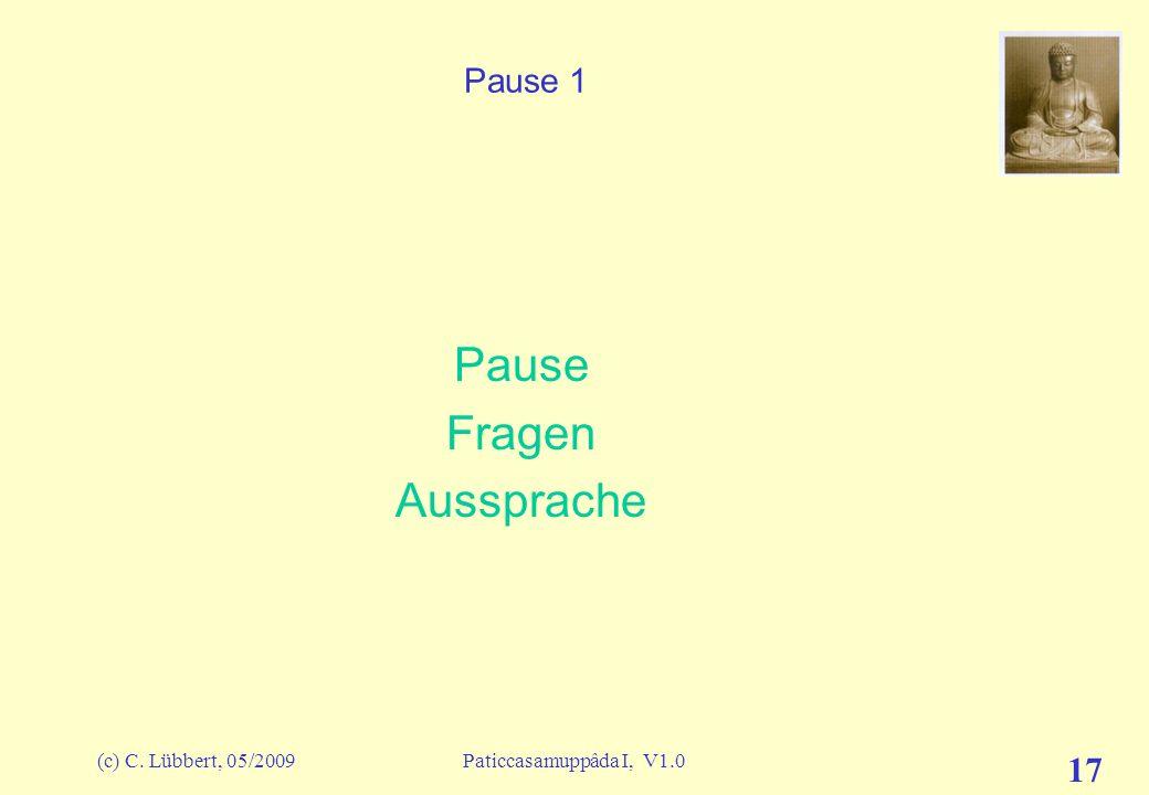 (c) C. Lübbert, 05/2009Paticcasamuppâda I, V1.0 16 ich und mein I (3) – Alle Glieder des Konditionalzyklus avijja Verblendung sankhârâ Geistesaktivitä
