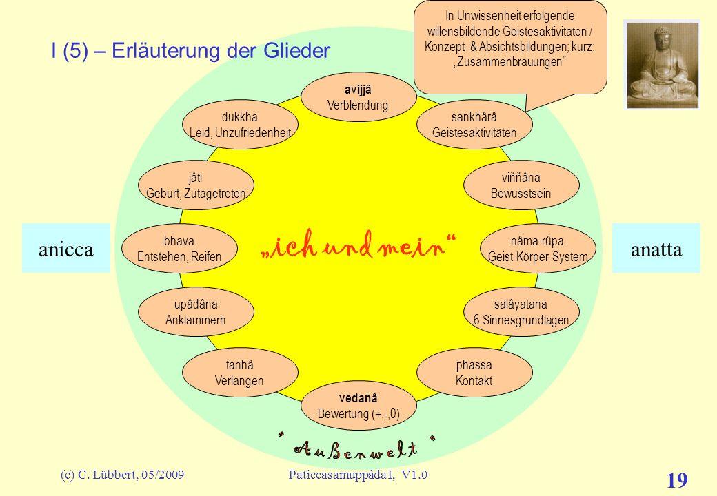(c) C. Lübbert, 05/2009Paticcasamuppâda I, V1.0 18 ich und mein I (4) – Erläuterung der Glieder avijjâ Verblendung sankhârâ Geistesaktivitäten viňňâna