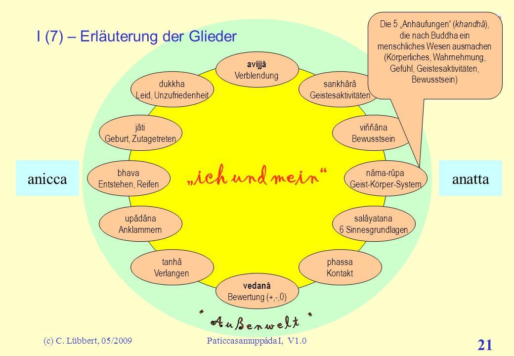 (c) C. Lübbert, 05/2009Paticcasamuppâda I, V1.0 20 ich und mein I (6) – Erläuterung der Glieder avijjâ Verblendung sankhârâ Geistesaktivitäten viňňâna