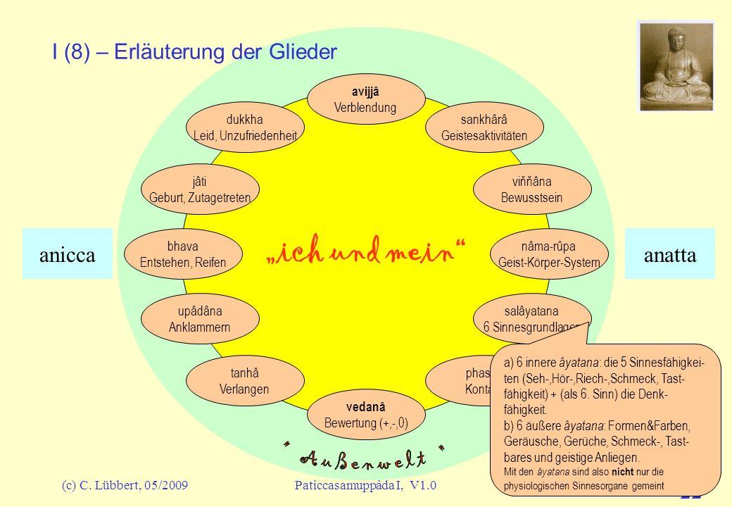 (c) C. Lübbert, 05/2009Paticcasamuppâda I, V1.0 21 ich und mein I (7) – Erläuterung der Glieder avijjâ Verblendung sankhârâ Geistesaktivitäten viňňâna